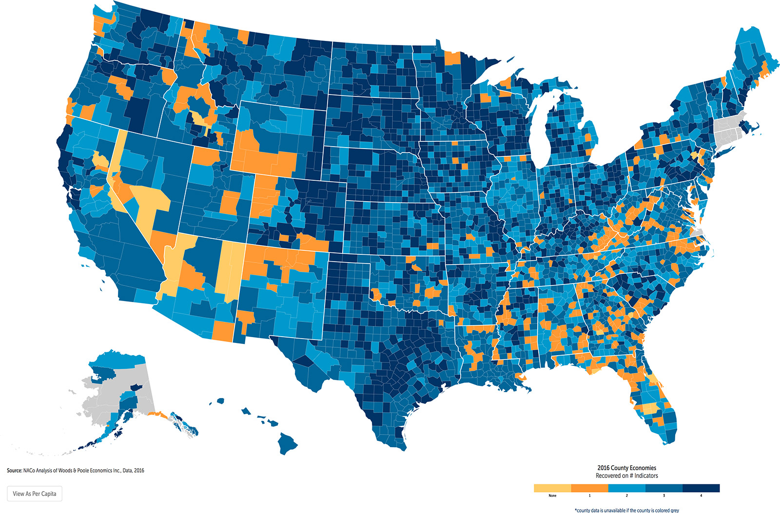 County Economies 2016 Widespread Recovery Slower Growth Naco - Us-gdp-map
