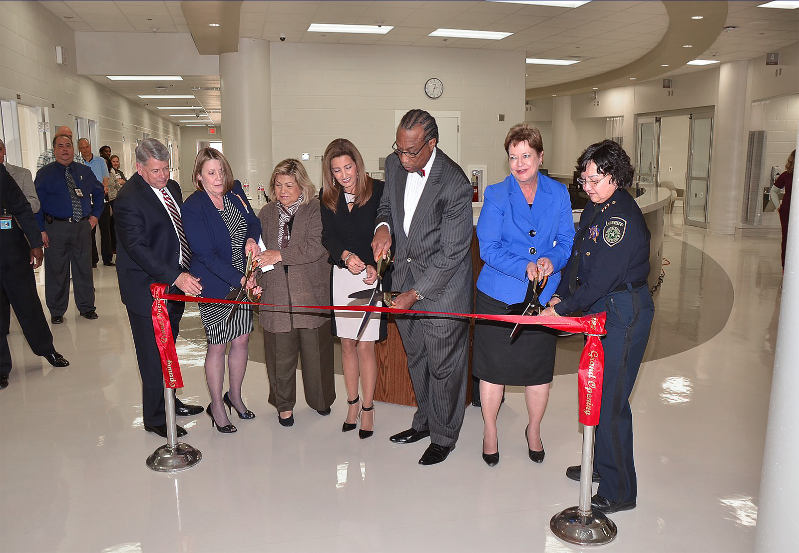 Ribbon cutting ceremony for the expansion and opening of the Dallas County Jail Medical Modification project.