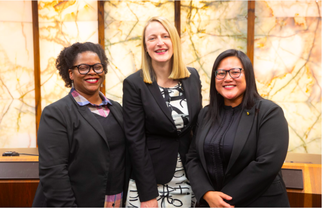Commissioner Marion Greene (center) at the Hennepin County swearing-in ceremony for Angela Conley (left) and Irene Fernando (right)—the first women of color ever elected to the county board of commissioners. Image courtesy of Hennepin County.